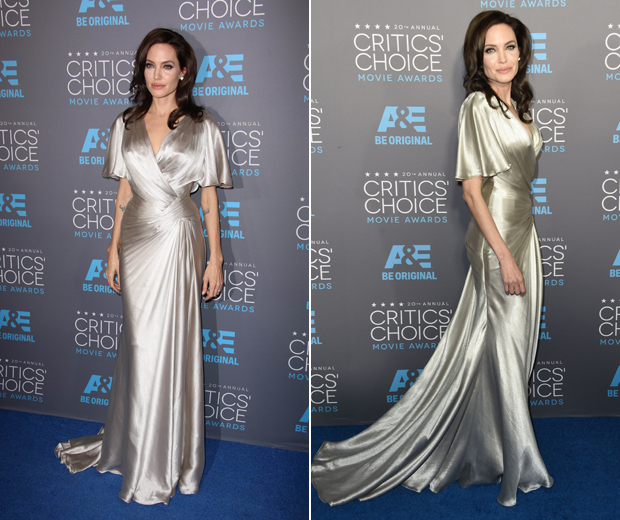 Angelina went for her favourite designer, Versace, at the Critics Choice Awards