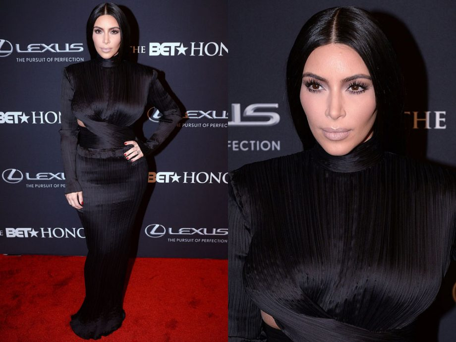 Kim Kardashian wears structured Balmain to the BET Honors with Kanye West