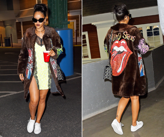 Rihanna rocked a neon slip dress by Christopher Kane with puma trainers