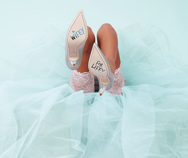 We love the 'Wifey For Lifey' soles from Sophia Webster's new bridal range