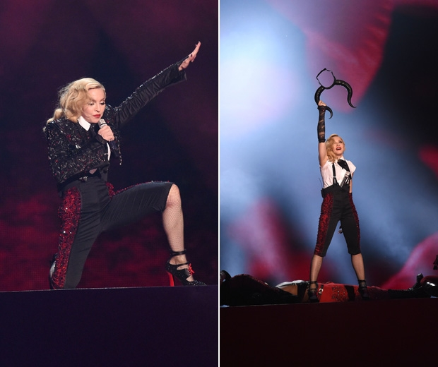 Giorgio Armani has spoken out and blamed Madonna for her epic cape fall at the BRITs 2015