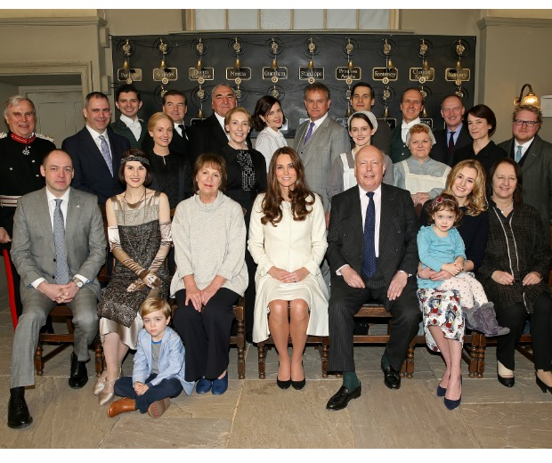 Kate Middleton wiith the cast of Downton Abbey