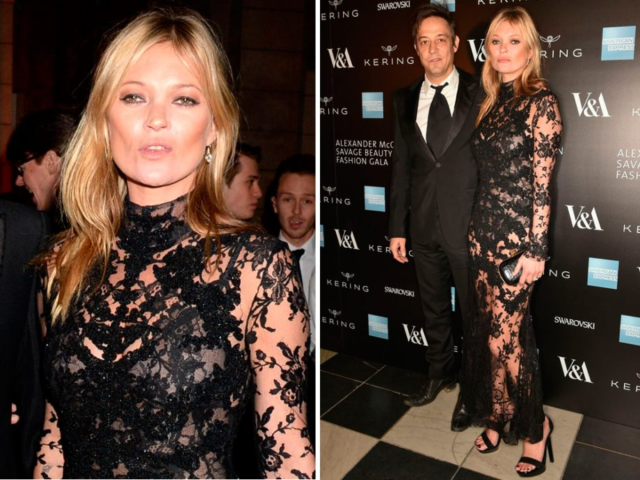 Kate Moss looked stunning in her black lace bodystocking from McQueen's AW15 collection
