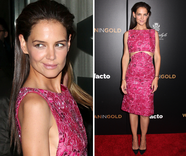 Katie Holmes wowed in this hot pink Zac Posen dress at the Woman In Gold premiere