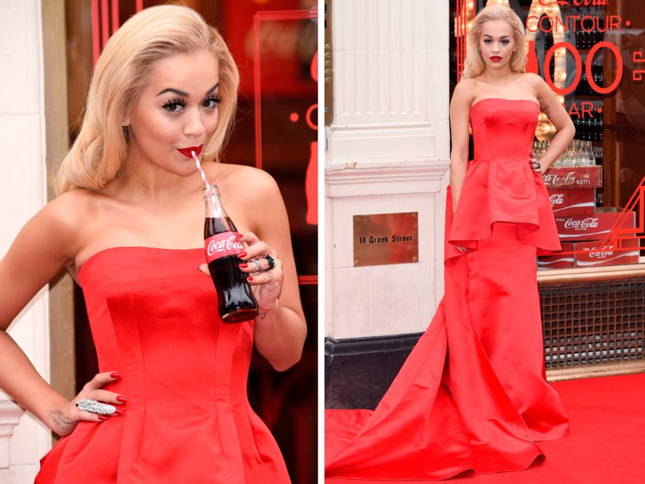 Rita Ora worked a showstopping red ball gown to the 100th anniversary of Coca Cola's iconic glass bottle earlier in London