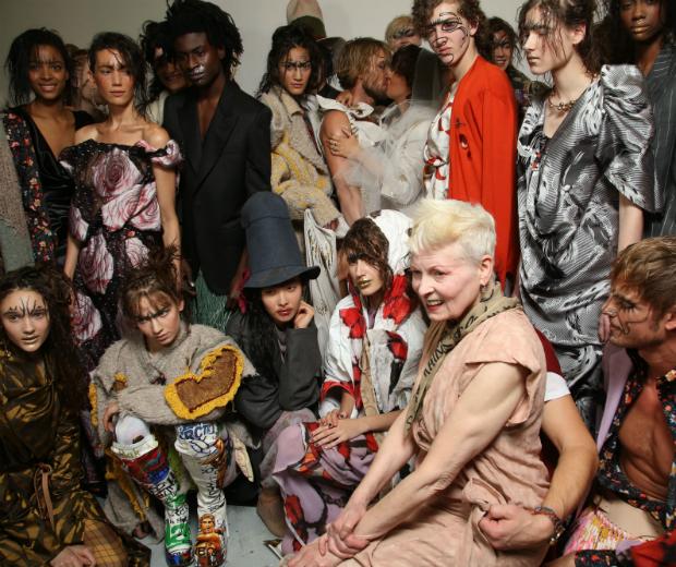 Vivienne Westwood backstage with her model gang