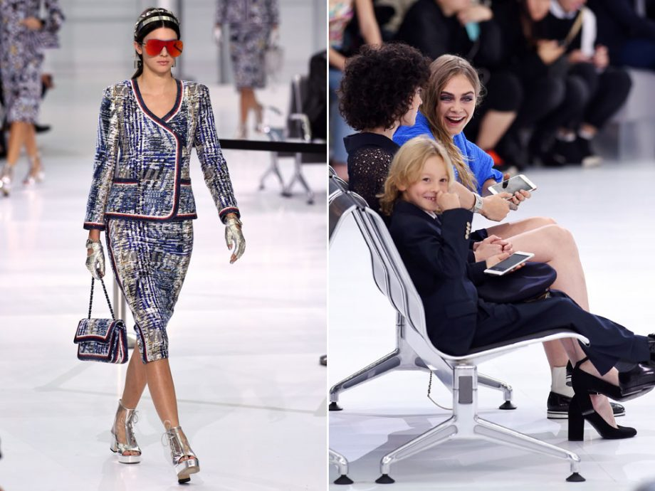 Chanel Airlines! Kendall Jenner hits the Chanel SS16 catwalk while Cara Delevingne watches the show with girlfriend St Vincent and Karl Lagerfeld's godson Hudson Kroenig