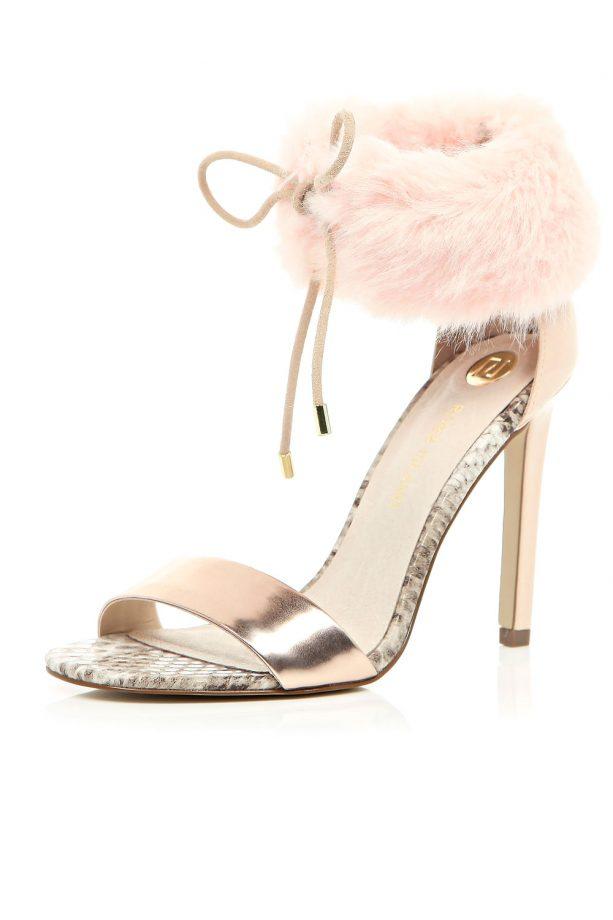 River Island light pink faux fur heels, £70