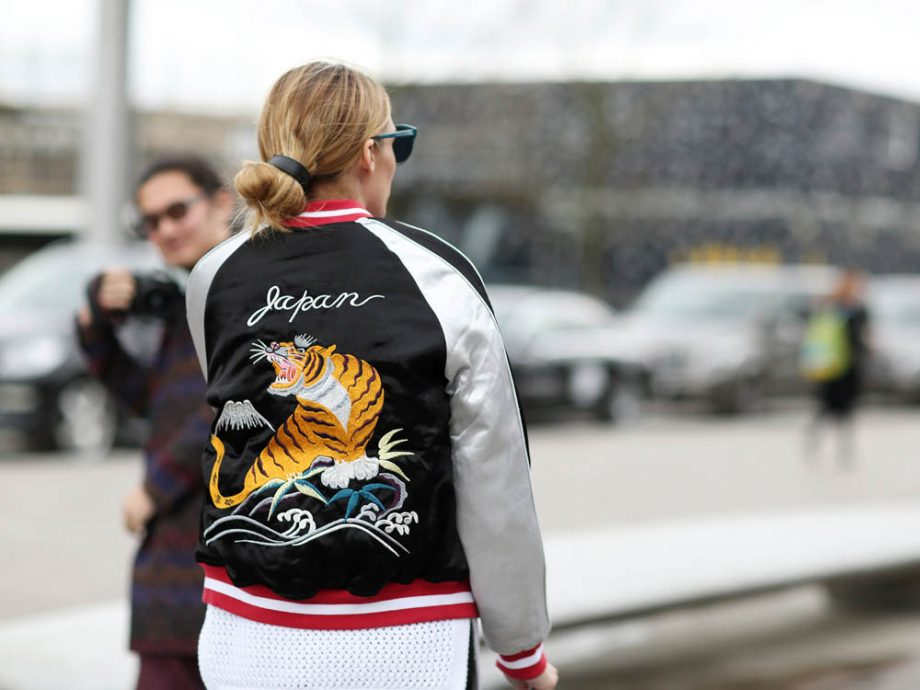 Olivia Palermo showed off her love for a customised bomber during London Fashion Week