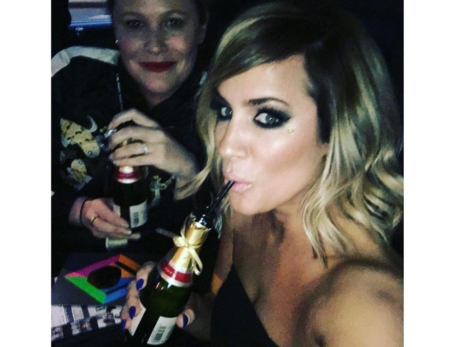 Caroline Flack shared this photo while en route to the BRITs
