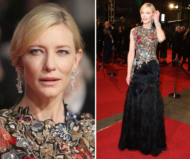 Cate stunned in a floral and feathered Alexander McQueen dress at the BAFTAs...