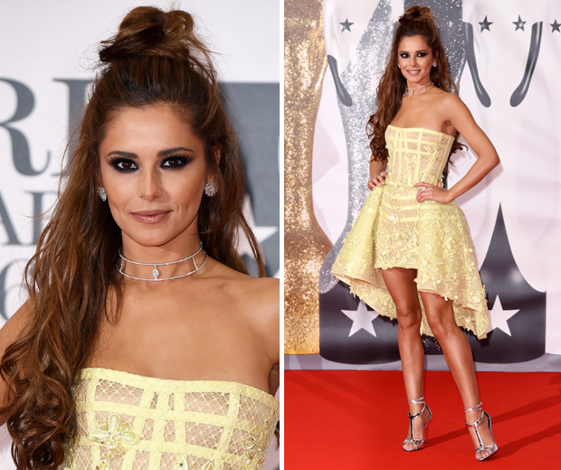 Cheryl was a knockout at the BRITs 2016 in a canary yellow corset dress...