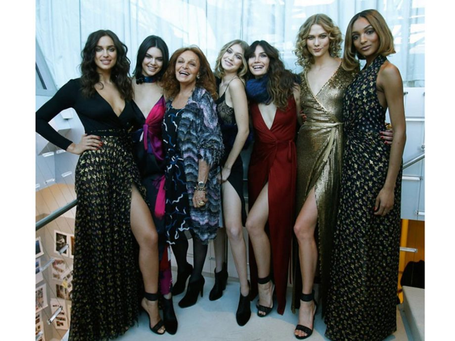 Diane Von Furstenberg and her model army before her first 'immersive' New York Fashion Week show
