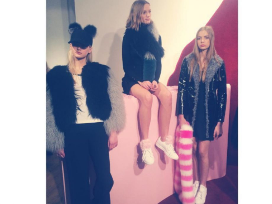 Models at the Charlotte Simone party wore pom pom hats and faux fur scarves
