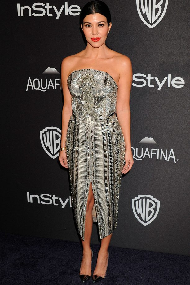 Kourtney Kardashian Dazzles In A Sequinned Julien Macdonald Dress At One Of The Golden Globes After Parties, 2016