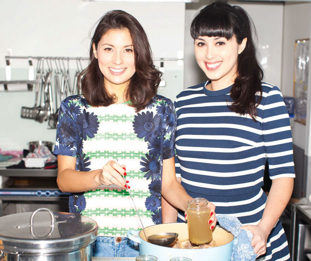Hemsley and Hemsley sisters Melissa and Jasmine and leading the souping movement