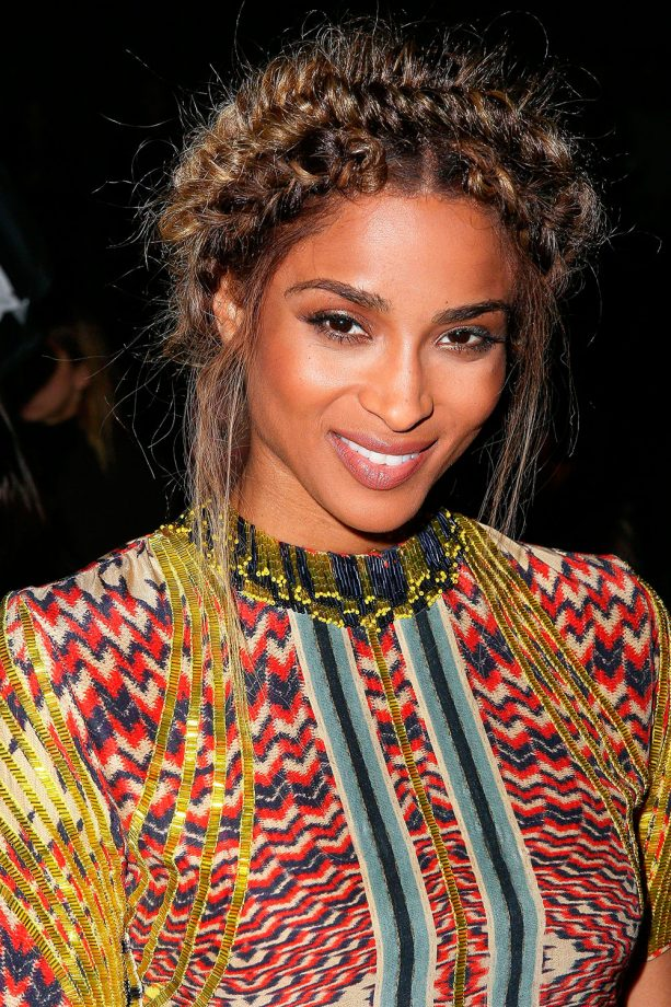 Updos celebrity styles youll love look ciara gives us some serious hair envy in this double crown braid during paris fashion week pmusecretfo Gallery