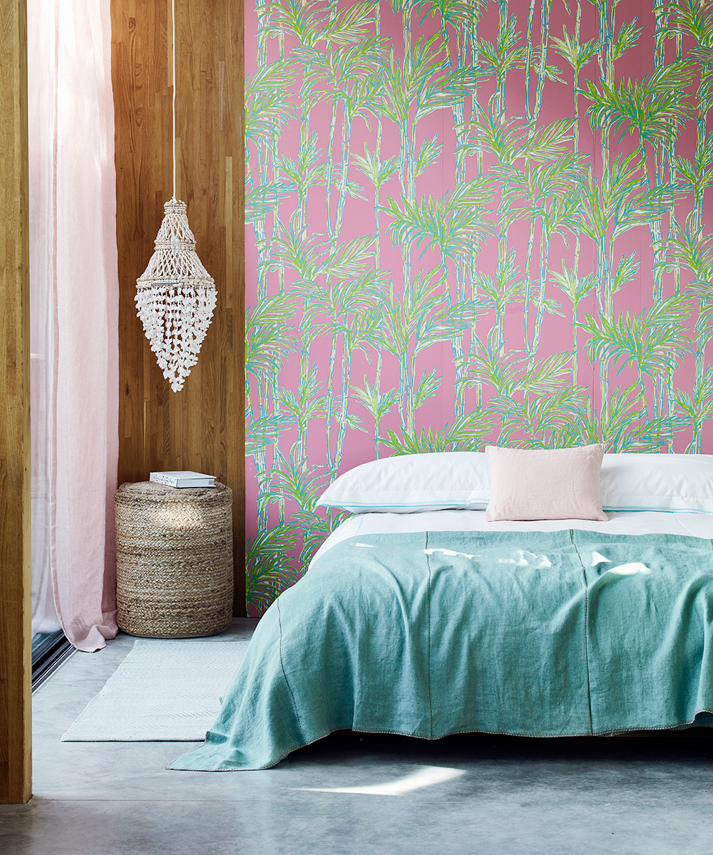 Tropical bedroom with palm-print wallpaper | Homes & Gardens