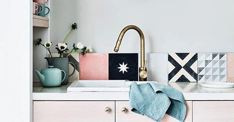 Splashback tiles with stylish statement prints