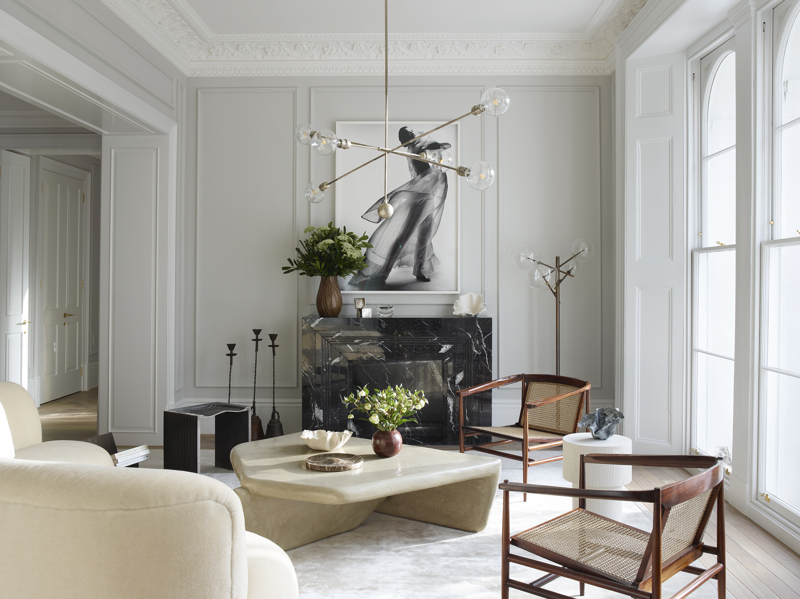 See this muted palette living room with an elegant mix of mid-century and modern