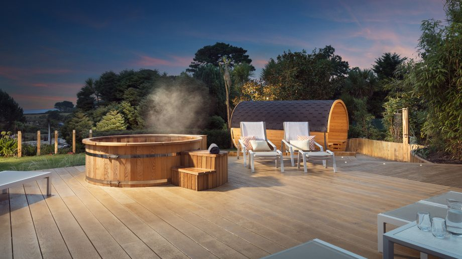 Swedish Hot Tub & Barrel Sauna at St Michael's Resort and Spa, Cornwall