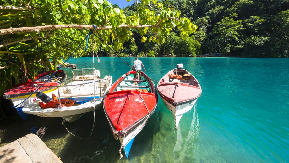 Boats in the Blue Lagoon, Port Antonio, Jamaica