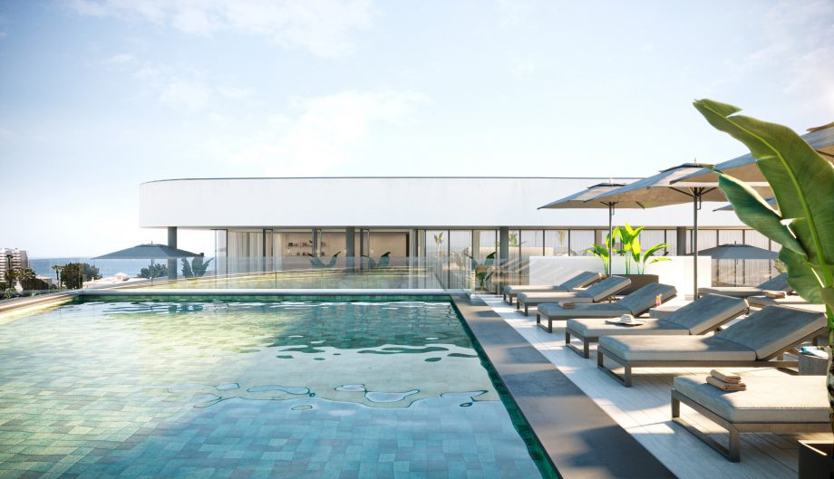 Rooftop pool at Longevity Health and Wellness Hotel, Alvor, Portugal